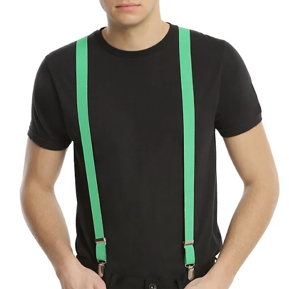 $5‼️NWT Hot Topic Neon Green/Silver Suspenders